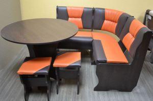 Кухонный уголок Фантазия, венге темный, к/з шоколадный + оранжевый - Мебельная фабрика «Миссия»