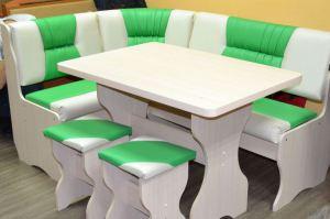 Кухонный уголок Уют 2, дуб выбеленный, к/з зеленый + молочный - Мебельная фабрика «Миссия»