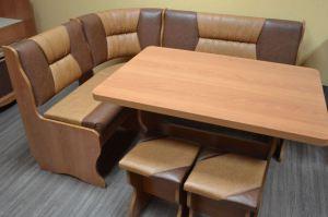 Кухонный уголок Уют 2, ольха, к/з коричневый + рыжик - Мебельная фабрика «Миссия»
