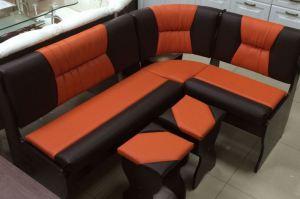 Кухонный уголок Уют 2, венге темный, к/з шоколадный + оранжевый - Мебельная фабрика «Миссия»