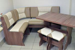 Кухонный уголок Уют 2, ясень шимо темный, к/з капучино + молочный - Мебельная фабрика «Миссия»