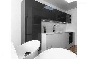 Мини-кухня белый матовый и черный глянец - Мебельная фабрика «Евроньюформ»