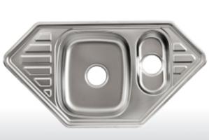 Мойка Лагуна врезная из нержавейки угловая S9550P - Оптовый поставщик комплектующих «Модерн стайл»