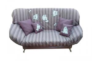 Мягкий диван клик-кляк Бриз с вышивкой Котик - Мебельная фабрика «Диваны от Ани и Вани»