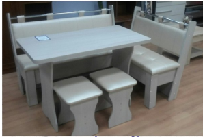 Мягкий кухонный уголок со столом и табуретами - Мебельная фабрика «Интеди»