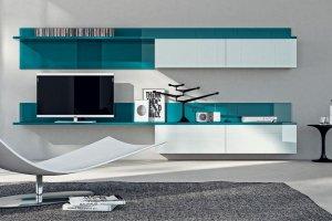 Навесная гостиная белая с бирюзовым - Мебельная фабрика «Интерьер»
