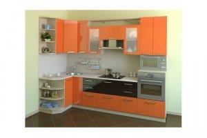 Оранжевая угловая кухня МАЛИКА - Изготовление мебели на заказ «КухниДар»