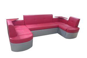 П-образный диван Венеция  со спальным местом и полочками - Мебельная фабрика «Палитра»