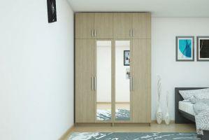 Простой распашной шкаф с зеркалом - Мебельная фабрика «MipoLine»