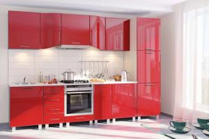 Прямая красная кухня Хай-Тек - Мебельная фабрика «КомфортОН», г. Москва