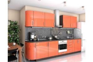 Прямая кухня 330см (фасад пластик глянец) - Мебельная фабрика «Проспект мебели»