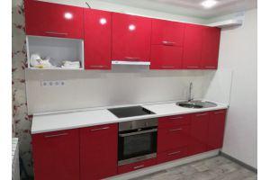 Прямая кухня красный с белым - Мебельная фабрика «IDEA»