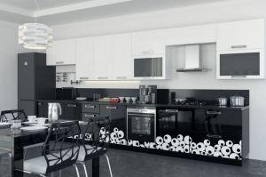Прямая кухня МДФ+эмаль с рисунком - Мебельная фабрика «Mebeon»