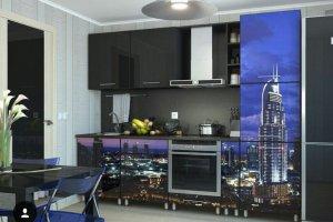 Прямая кухня с фотопечатью - Мебельная фабрика «Люкс-С»