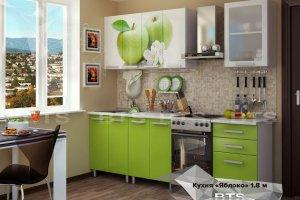 Прямая кухня с фотопечатью Яблоко - Мебельная фабрика «BTS»