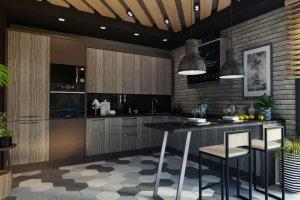 Прямая кухня стиль Лофт - Мебельная фабрика «Слон»