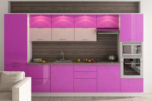 Кухня розовая прямая - Мебельная фабрика «Люкс-С»