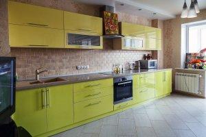 Прямая современная пластиковая кухня - Мебельная фабрика «Агата»
