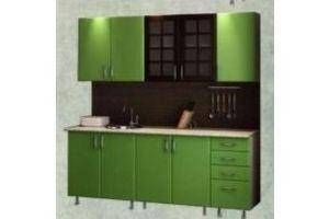 Прямая зеленая кухня 42 - Мебельная фабрика «Алекс-мебель»