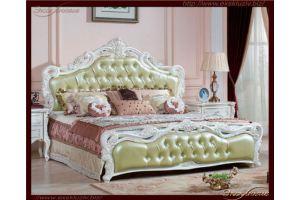 Романтичная белая кровать с мягким изголовьем с каретной стяжкой - Мебельная фабрика «Эксклюзив»