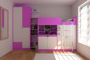 Розовая мебель в детскую Моана - Мебельная фабрика «Пате»