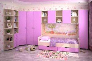 Розовая стенка в детскую - Мебельная фабрика «Интерьер»