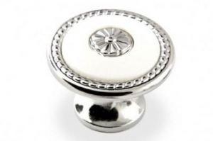 Ручка-кнопка FB-027 000 (хром/белый) - Оптовый поставщик комплектующих «КДМ»