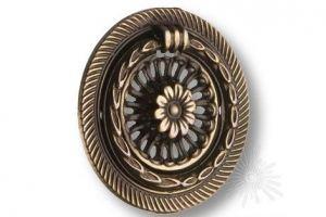 Ручка кольцо на подложке старая бронза - Оптовый поставщик комплектующих «Брасс»