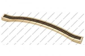 Ручка-скоба 128 мм с черными стразами матовое золото 5348-04-04/011 - Оптовый поставщик комплектующих «Модерн-Стиль А»