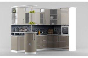 Серая кухня с барной стойкой - Мебельная фабрика «Идея комфорта»