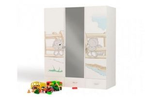 Шкаф 3х дверный Bears с зеркалом - Мебельная фабрика «ABC King»