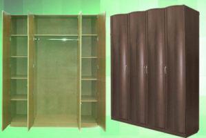 Шкаф 4-х дверный объемные фасады - Мебельная фабрика «КрайМебель-Краснодар»