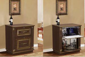 Шкаф барный c элементами декора - Мебельная фабрика «Аристократ»