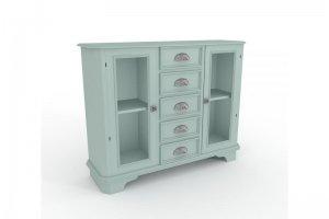 Шкаф для посуды со стеклом из массива дерева - Мебельная фабрика «Вернисаж»
