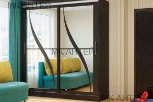 Шкаф-купе Лидер с декоративными зеркальными вставками - Мебельная фабрика «Антей»