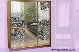 Шкаф-купе с пескоструйным рисунком - Мебельная фабрика «Buena»