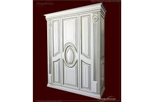 Шкаф в классическом стиле с медальоном Флоры белоснежный с патиной  - Мебельная фабрика «Эксклюзив»