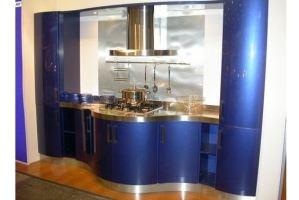 Синяя кухня с гнутыми фасадами - Мебельная фабрика «Арнада»