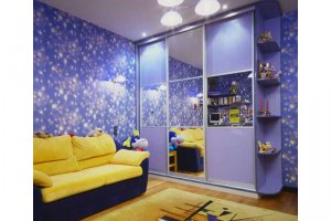 Сиреневый шкаф-купе в детскую - Мебельная фабрика «Феникс»