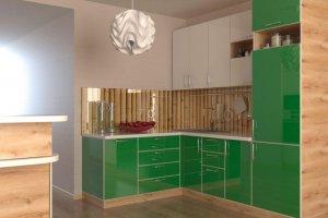 Зеленая кухня с фасадами пластик 5 - Мебельная фабрика «ПИЛИГРИМ»