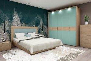 Современная спальня Илма-2 Ривьера/мята матовый - Мебельная фабрика «Мебель-Москва»