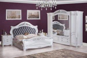 Спальная мебель серебро Касандра белая - Мебельная фабрика «Северо-Кавказская фабрика мебели»