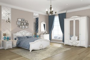 Спальня  Барбара белый патина золото - Мебельная фабрика «Империал»