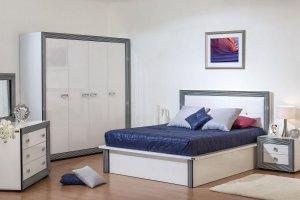 Спальня Даймонд Наоми белый/металлик/глянец - Мебельная фабрика «Мебель Черноземья»