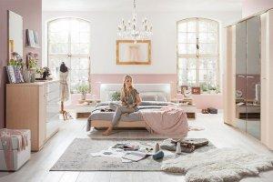 Спальня Элеонора дуб беленый, белый глянец - Мебельная фабрика «Лазурит»