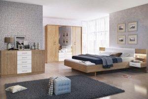 Спальный гарнитур БЕАТА (ДУБ СОНОМА-БЕЛЫЙ БРИЛЛИАНТ - Мебельная фабрика «Евромебель»