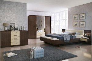 Спальный гарнитур  Беата (Венге-Софт светлый) - Мебельная фабрика «Евромебель»