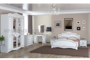 Спальный гарнитур Лотос белый жемчуг лак - Мебельная фабрика «Bravo Мебель»