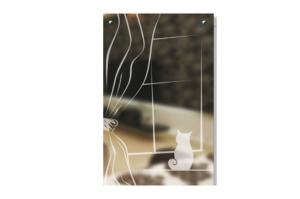 Стекло с Художественной пескоструйной обработкой Кошка у окошка - Оптовый поставщик комплектующих «SEDAK-Стеклотех»