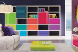 Стеллаж с разноцветными фасадами Haus - Мебельная фабрика «Sofmann»